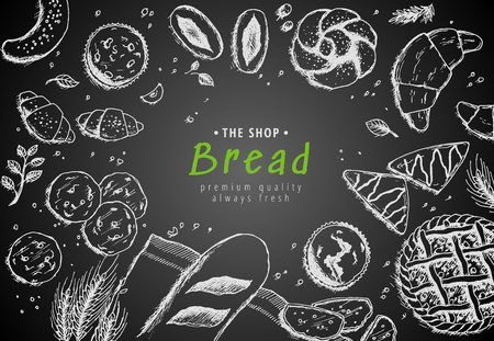 Vector bakery vintage background design. Hand drawn bread sketch illustration with wheat, flour on dark background. Concept for bakery menu, organic flour, grain and cereal products.