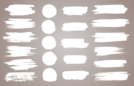 Set of white ink vector stains. Vector black paint, ink brush stroke, brush, line or round texture. Dirty artistic design element, box, frame or background for text.