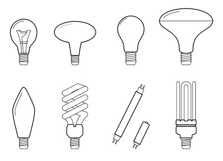Vector line illustration of main electric lighting types: incandescent light bulb, halogen lamp, cfl and led lamp. Flat icon collection