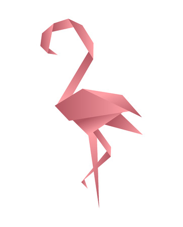 Flamingo origami low poly style. Polygonal mosaic vector illustration. Decorative origami paper flamingo.