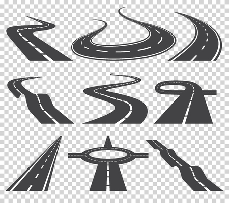 Curved roads vector set. Asphalt road or way and curve road highway. Winding curved road or highway with markings