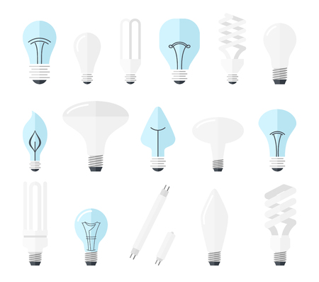 Vector illustration of main electric lighting types: incandescent light bulb, halogen lamp, cfl and led lamp. Flat style
