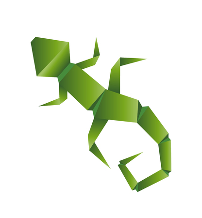 Lizard abstract isolated origami on a white background, vector illustration. Illustration
