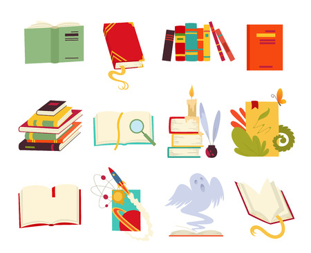 Icons of books vector set design style with dragon, bird feathers, candle, bookmark and ribbon. Books in a stack, open, closed. Historical, scientific, fantastic, fairy tales, medieval vintage