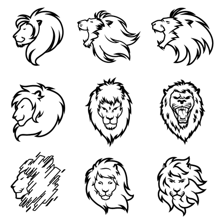 Ensemble De Logo De Lion. Collection de design haut de gamme. Illustration vectorielle. Logo