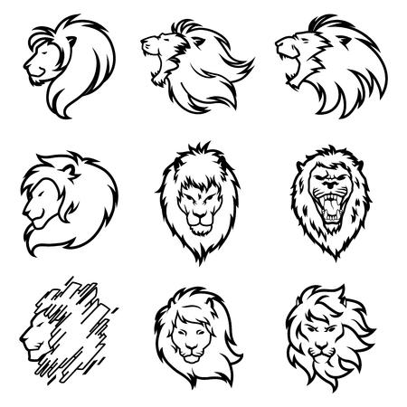 Insieme del logo del leone. Collezione di design premium. Illustrazione di vettore. Logo
