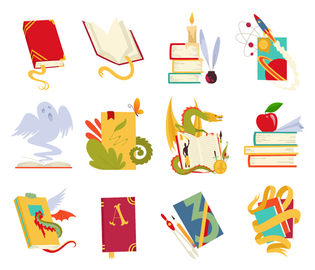 Icons of books vector set with dragon, bird feathers, candle, aple, bookmark and ribbon. Books in a stack, open, in a group, closed. Historical, scientific, fantastic, fairy tales medieval vintage Ilustrace