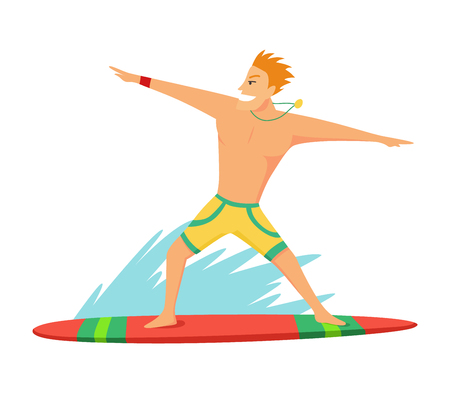Young man surfboarder riding a surfboard in the wave vector illustartion Ilustracja