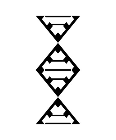 Abstract DNA strand symbol. Isolated on white background. Vector concept illustration. Vettoriali