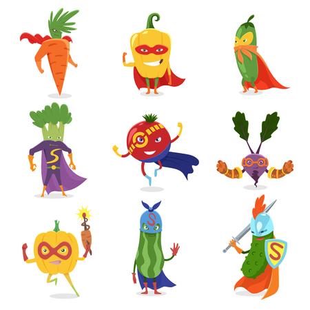 Verdure di supereroi In maschere e mantelli Set di simpatici cartoni animati infantili umanizzati personaggi In costumi. Vitamine utili, alimentazione sana.