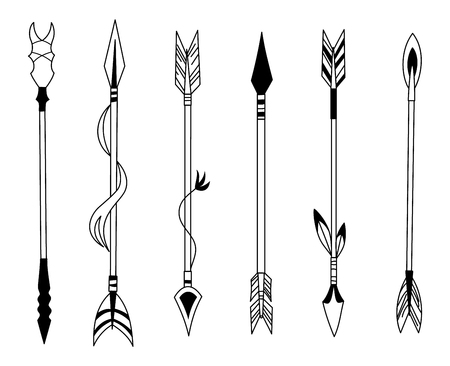 Hand drawn feather arrow, tribal feathers on pointer and decorative boho bow, feather indian arrowhead. Native aztec or hipster tattoo sketch isolated vector symbols set
