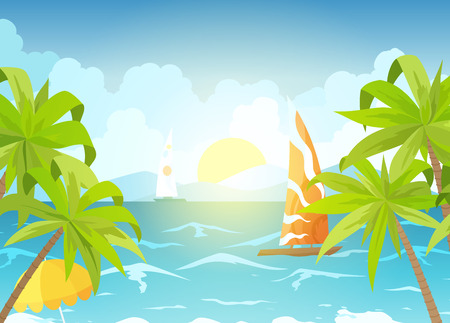 Sea beach and sun loungers. Seascape, vacation banner with sailing ships, palms and clouds. Cartoon vector illustration - Vector.
