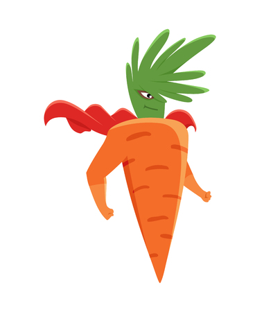 Cartoon superhero carrot character standing with arms in comics costume