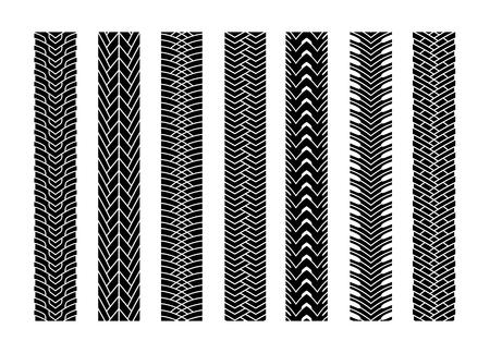 Black Tire Tracks Wheel Car or Transport Set on Road Texture Pattern for Automobile. Vector illustration of Track 向量圖像