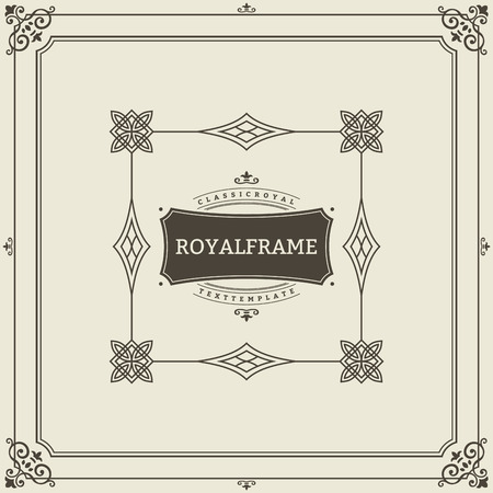 Vintage Ornament Greeting Card Vector Template. Retro Luxury Invitation, Royal Certificate. Flourishes frame. Vintage Background, Vintage Frame, Vintage Ornament, Ornaments Vector, Ornamental Frame.