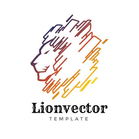 Lion shield logo design template. Lion head logo. Element for the brand identity, vector illustration.