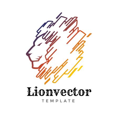 Lion shield logo design template. Lion head logo. Element for the brand identity, vector illustration.