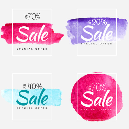 Final sale watercolor paint abstract textured banner template. Design for a shop and stores banners. Vectores