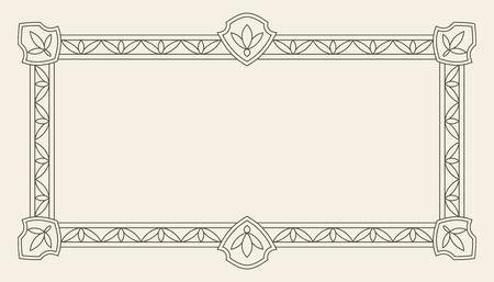 Modello d'annata di vettore della cartolina d'auguri dell'ornamento. Invito di lusso retrò, certificato reale. Cornice fiorisce. Sfondo vintage, cornice vintage, ornamento vintage, ornamenti vettoriale, cornice ornamentale