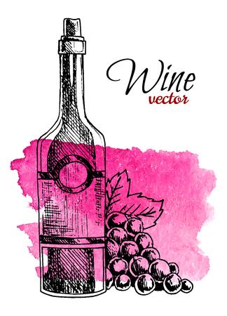 Hand drawn bottle of wine and grape on watercolor splash background. Retro style vector illustration. Ilustração Vetorial
