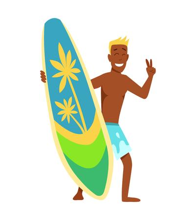 Surfboarder joven con tabla de surf y gafas de sol vector illustartion