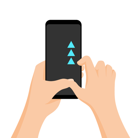 Hand holding smartphone with quick tutorial on the screen. Touch screen gesture. Vector flat cartoon illustration for advertising, app, web sites, banners design. Arrow scroll up. Unlock device