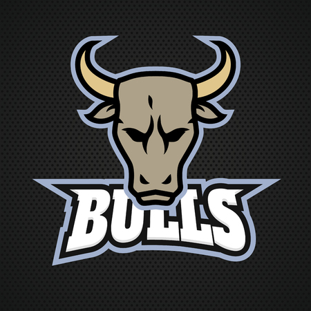 Modern professional bull logo for a sport team. Vector logo on a dark background.