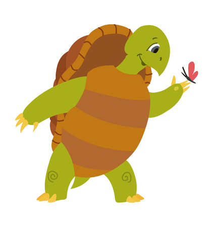 Vector illustration of cute turtle cartoon isolated on white background.