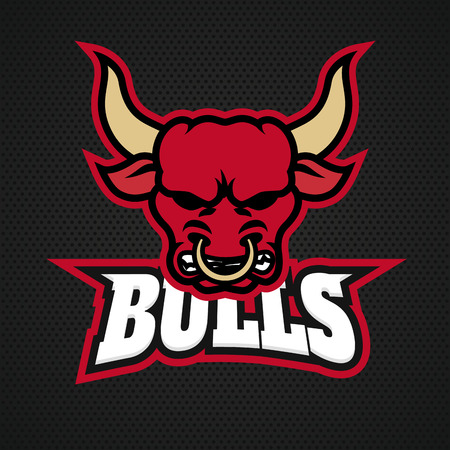 Modern professional bull logo for a sport team. Vector logo on a dark background.