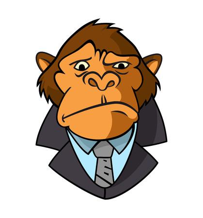 Maskottchen-Icon-Illustration des Kopfes eines gepflegten Gorillas, Affen, Primaten, Anzug und Krawatte auf isoliertem Hintergrund im Retro-Stil. - Vektor-Detektiv-Illustration.