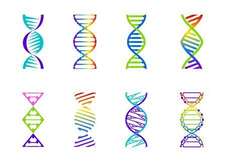 DNA molecule sign set, genetic elements and icons collection strand. Vector color gradient illustration. Illustration