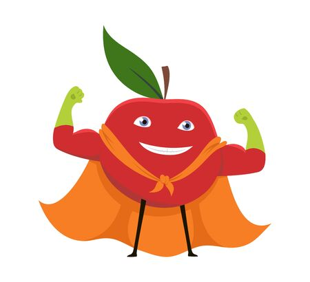 Cartoon Superhero Character Red Apple Vegetarian Superpower Concept Element Flat Design Style. Vector illustration of Icon. Vectores