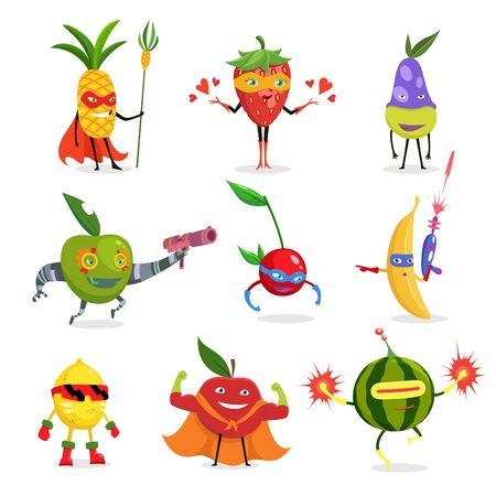 Superhelden-Früchte in Masken und Umhängen Set von niedlichen kindischen Cartoon humanisierten Charakteren in Kostümen in verschiedenen Posen