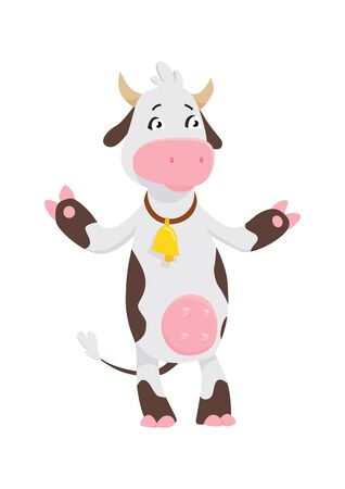 Funny cow cartoon character, happy cow vector illustration Illustration