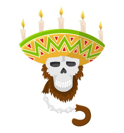 Mexican skull monkey in sombrero with candles. Gorilla monkey skull, colored vector.