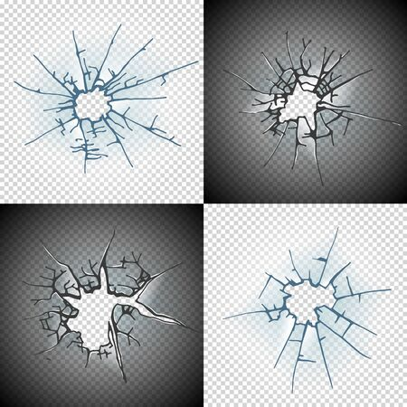 Broken window pane or door cracked hole realistic transparent glass isolated on daylight background