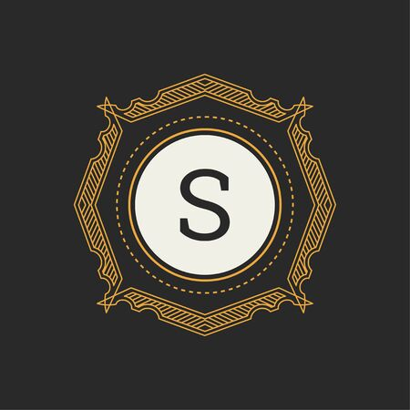 Luxury  template for Restaurant, Royalty, Boutique, Cafe, Hotel, Heraldic, Jewelry, Fashion. Letter S floral monogram