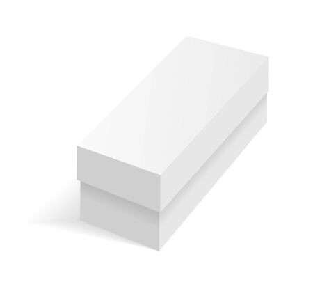 White blank cardboard package box. Vector template. Cardboard box mockup, package and container illustration Ilustração