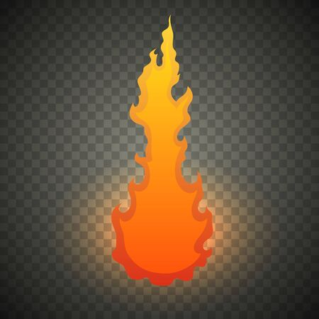 Realistic fire flames isolated on transparent background. Special burning light effect with sparks for design and decoration. Vector Illustration Ilustração