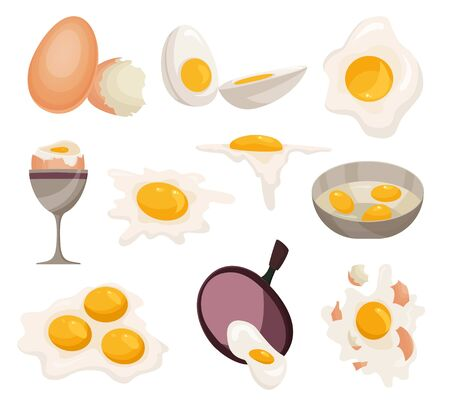 Egg vector healthy food egg white or yolk in egg-cup for breakfast illustration set of eggshell or egg shaped ingredients isolated on white background.