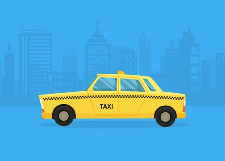 Cars on the city panorama. Taxi service. Yellow taxi cab. Taxi application, city silhouette with skyscrapers and towers.