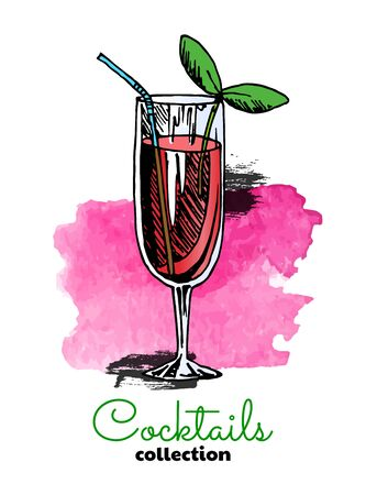 Hand drawn illustration of cocktail and watercolor splash. Vector three color summer illustration