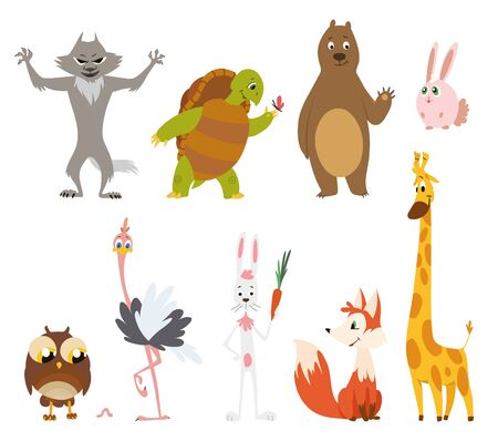 Cartoon wild animals in different poses on white background.