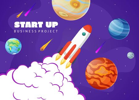 Start up concept space background with rocket and planets. Web design. Space exploring vector illustration.