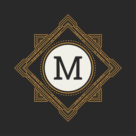 Floral monogram. Classic ornament. Classic design elements for wedding invitations.