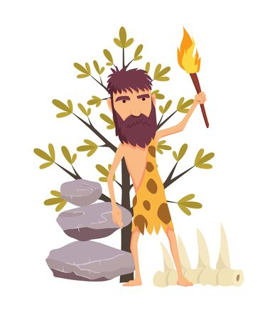 Cartoon stone age man with torch. Ancient people vector symbol stock web illustration.