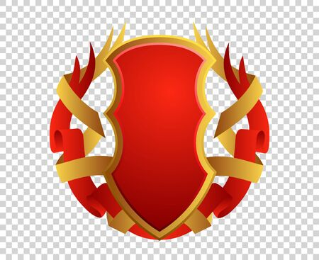 Blank red and gold shield and ribbon on transparrent background