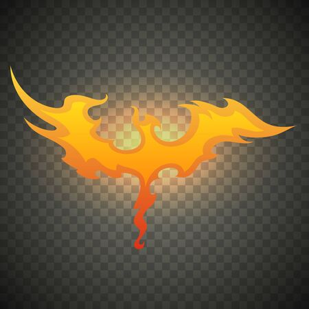 Fire bird phoenix. Realistic fire flames isolated on transparent background. Special burning light effect with sparks for design and decoration.