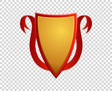 Blank red and gold shield and ribbon on transparent background. Ilustração