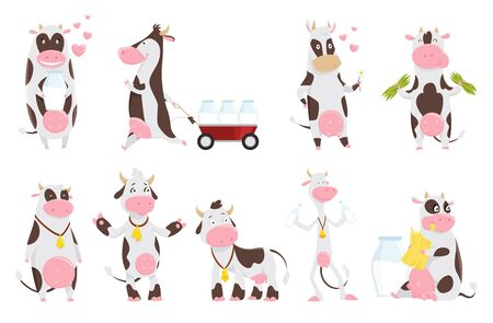 Cute happy cow collection cartoon with milk bottle. Cow eating grass, funny farm animal cartoon character. Happy cow set vector illustration. A thin cow drinks milk with a bell on his neck. Ilustração